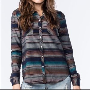 Roxy Camp Site Striped long sleeve button down